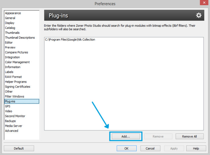 To add new plug-ins, use the program preferences.