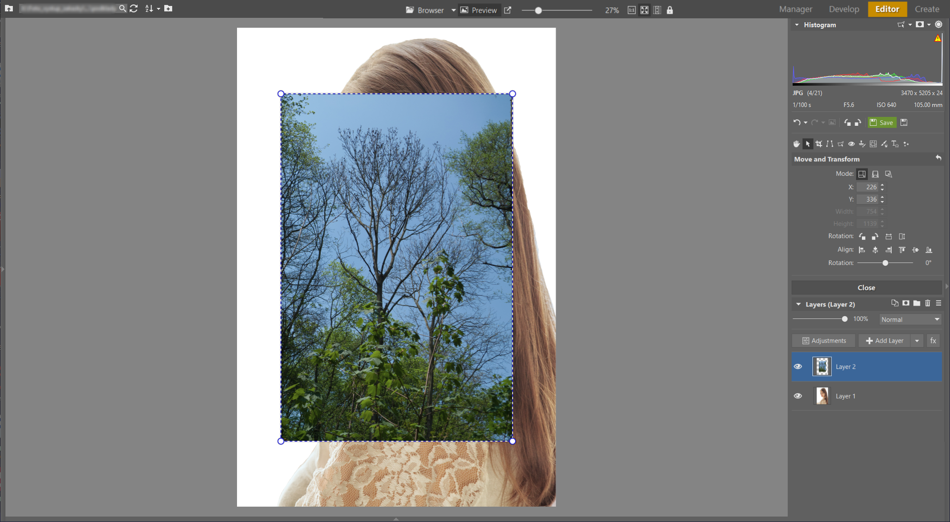 Learn to Create a Double Exposure Effect in ZPS - adding 2nd exposure