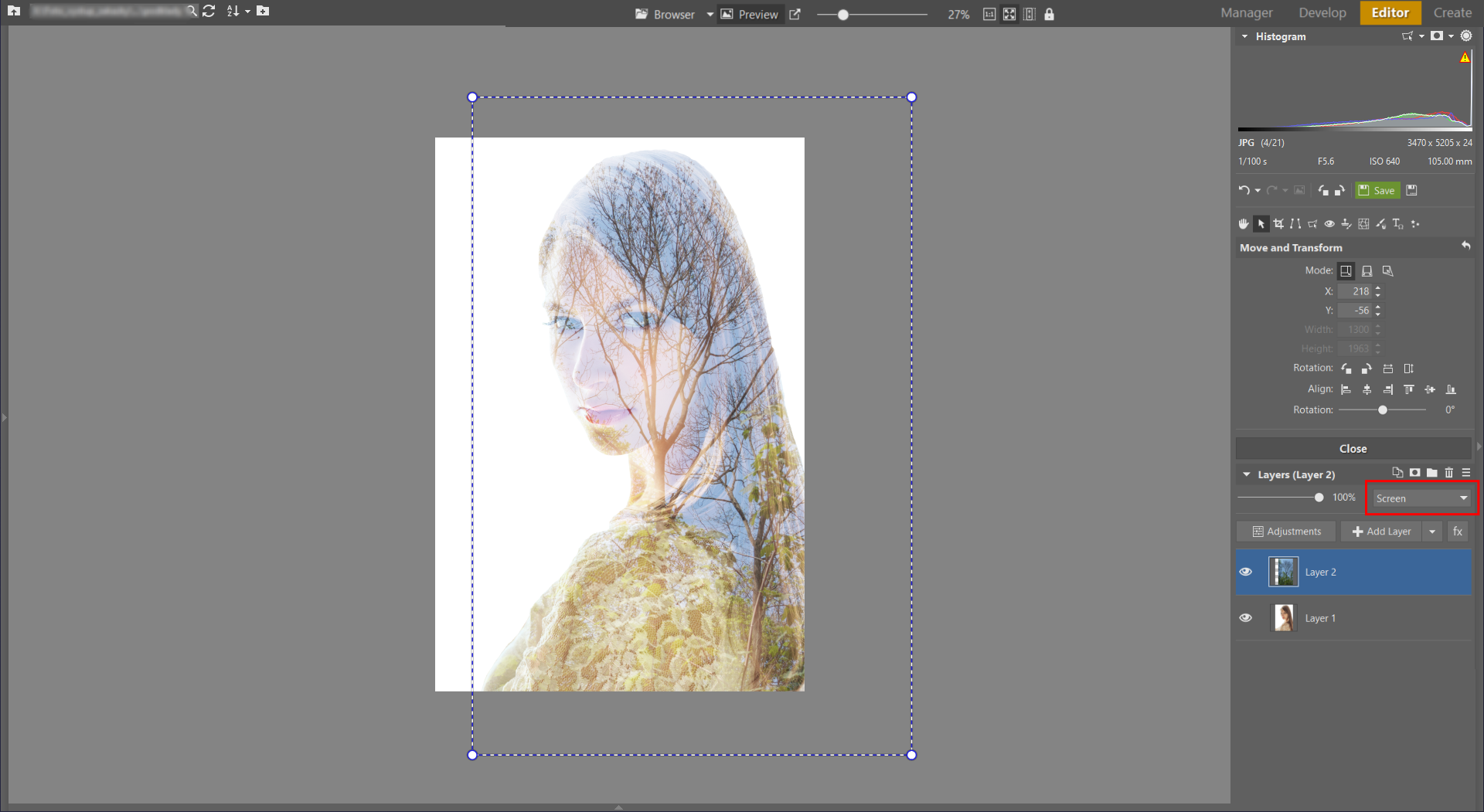 Learn to Create a Double Exposure Effect in ZPS - setting 2nd layer to screen