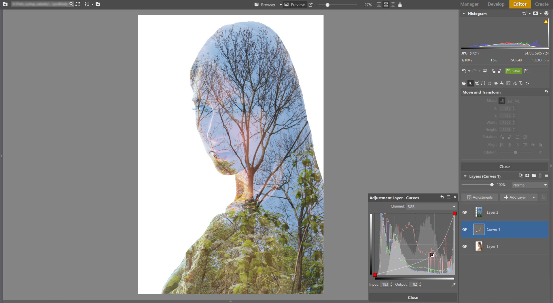 Learn to Create a Double Exposure Effect in ZPS - adding curves