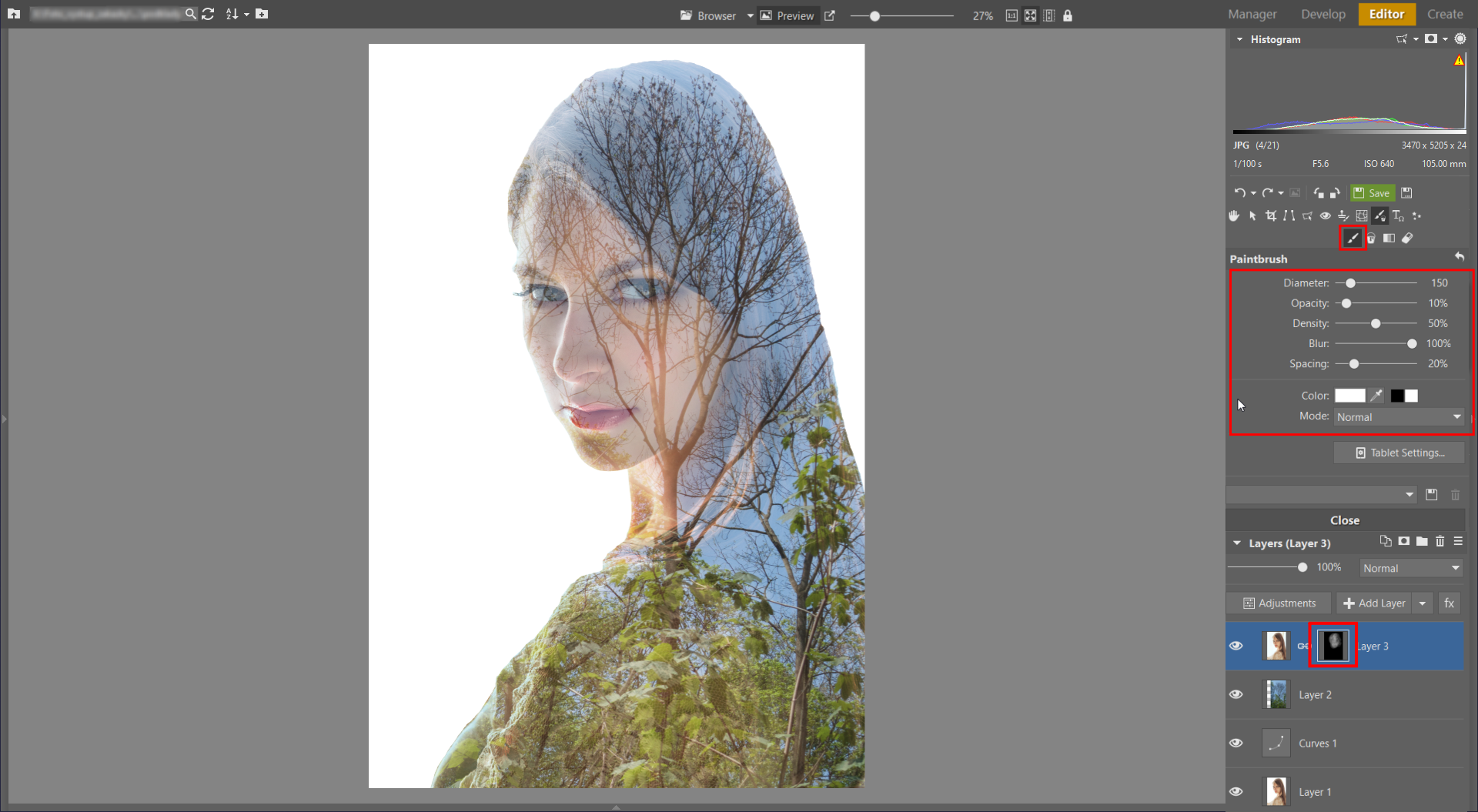 Learn to Create a Double Exposure Effect in ZPS - face reconstruction