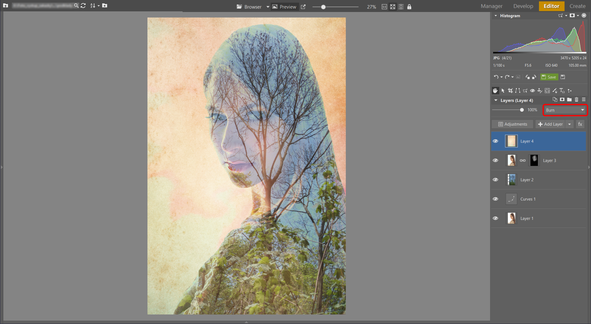 Learn to Create a Double Exposure Effect in ZPS - setting texture mode to burn