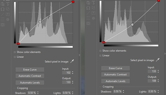 Curves settings. To brighten a picture, drag a handle upwards. To darken it, drag it downwards.