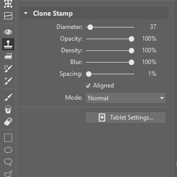 Clone Stamp settings for retouching: Diameter 75; 100% for Opacity, Density, and Blur. Spacing is set to 1.