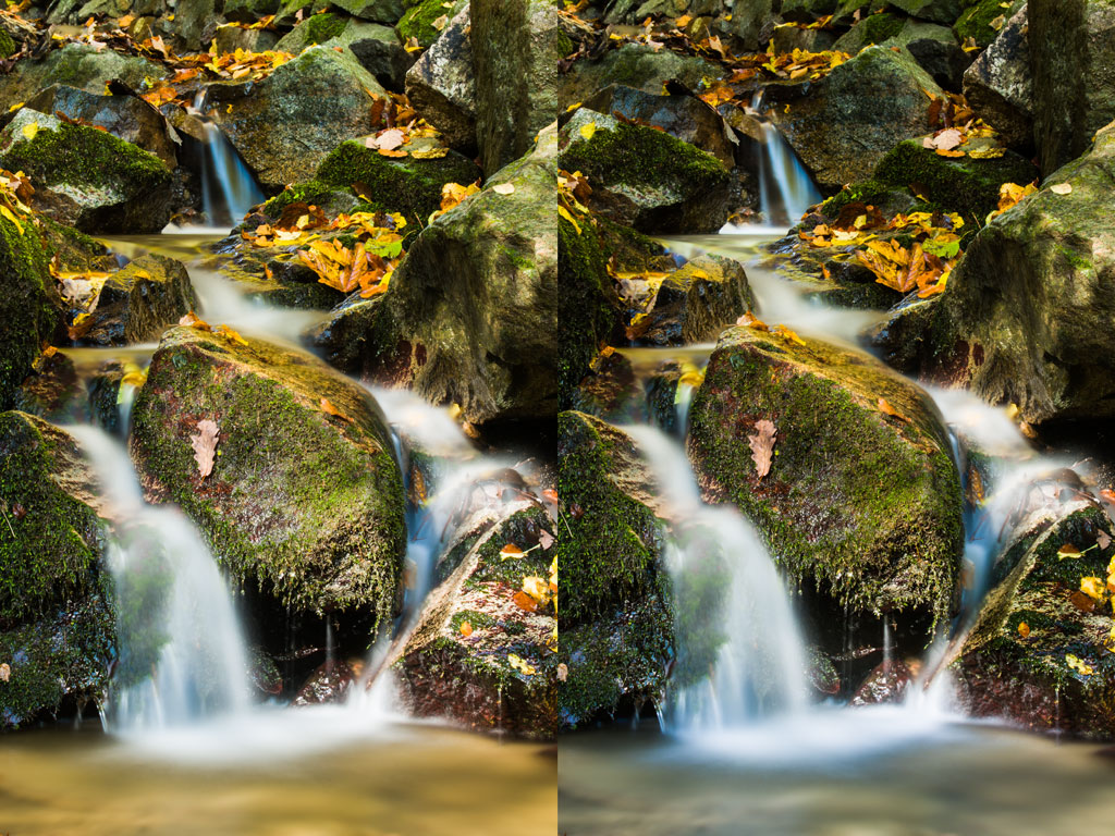 The original photo, on the left, was selectively darkened to make the water stand out. Canon 5D Mark III, Canon EF 70-200/2.8 II, 30 s, f/20, ISO 100, focal length 88 mm