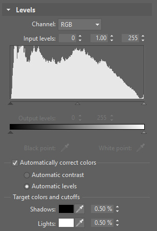 ZPS can automatically adjust either a photo's contrast, or its histogram levels directly.