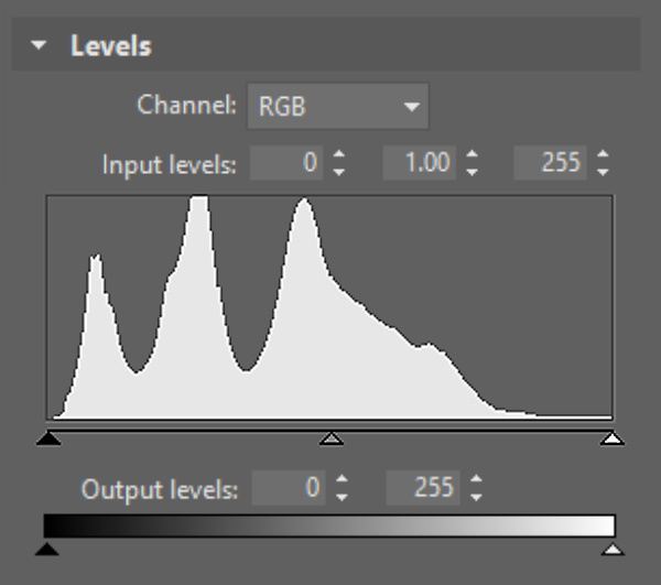 The histogram is an essential guide during manual work in Levels.