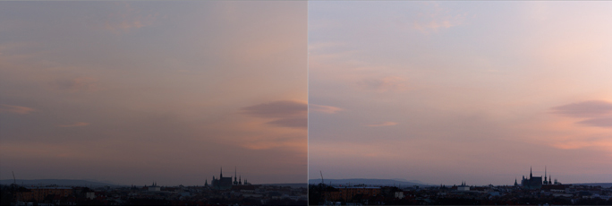 The original picture, and how it looks after edits to Exposure (1.0), Contrast (30), Lights (-50), Shadows (-40) and the White Point (35).