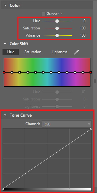 The Develop section's tools for adjusting colors.