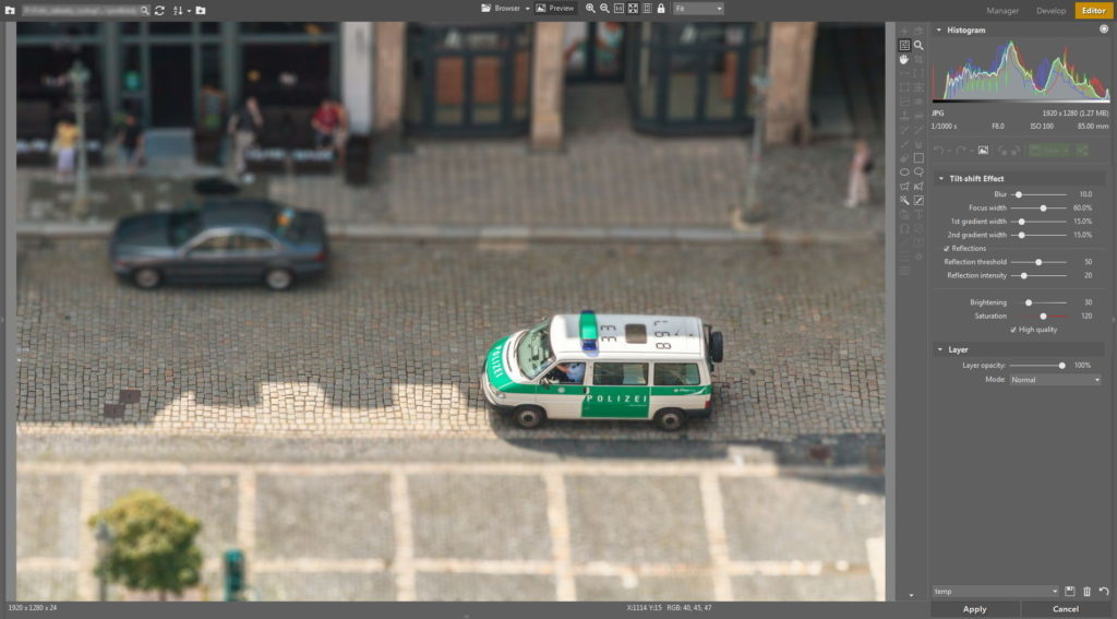 The most suitable photos for adding this miniature effect are photos shot from above.