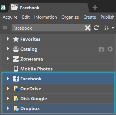 Now you can access your photos on the most popular cloud services and on Facebook directly from the Navigator.