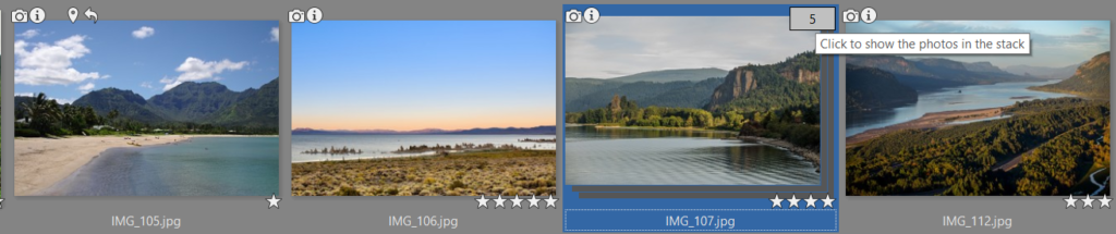 A group of multiple source photos for creating panoramas no longer has to take up extra space in the Manager. You just stack your sets of similar photos, and sorting and viewing your pictures becomes easier than ever.
