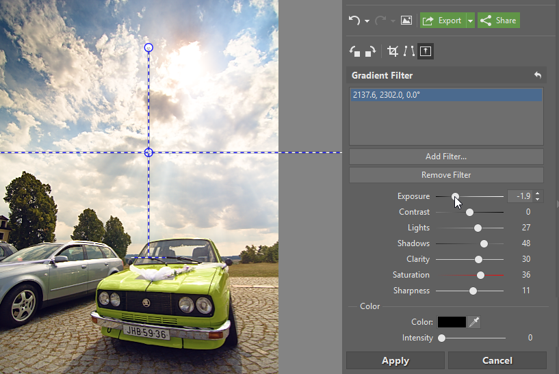 New settings for gradient filters.