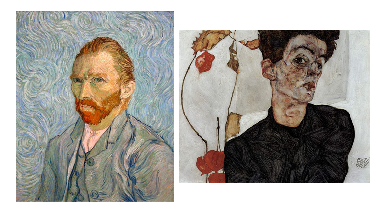 Self-portraits of famous painters. Left: Vincent van Gogh. Right: Egon Schiele. Source: Wikimedia Commons