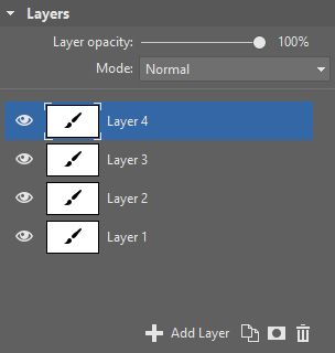 The Layers group, with three layers.