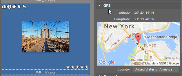 To see GPS data for any photo, check the right panel.