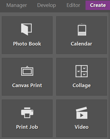 Photo calendars, along with other creative outputs from your photos, are in the Create module.