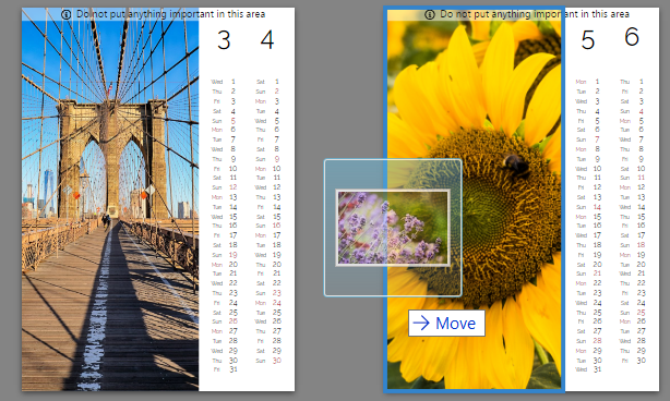 Just drag and drop pictures into the calendar. In the Filmstrip you'll also see numbers on some or all of your photos—these indicate how many times you've used a given picture in the calendar.