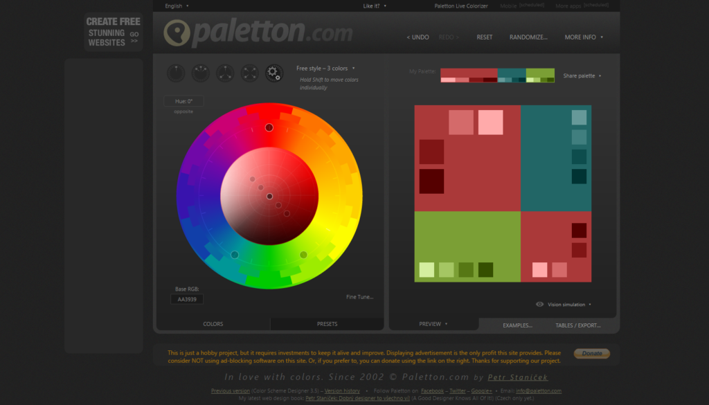 An example of a color calculator. Source: paletton.com