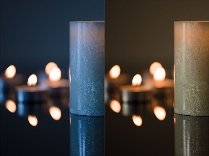 Originally the white balance was 3100 K, but that left the light from the window too blue. A shift to 5400 K made it merge with the surrounding candle light.