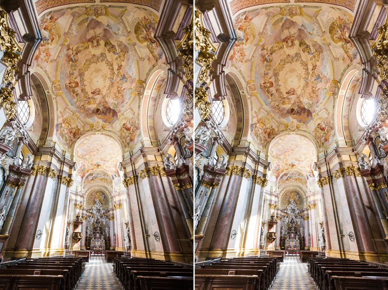 Left: an architecture photo with strong vignetting. Right: the same photo after retouching.