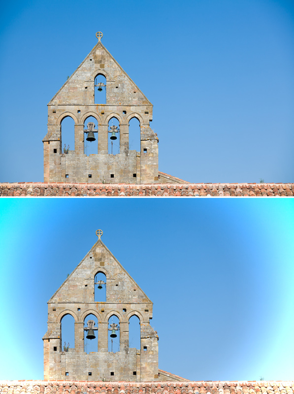 The original photo with a little vignetting (top) and bad antivignetting (bottom).