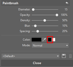 During mask editing, two extra buttons are shown by the color-picker button. Use these to directly set the brush to white or black.