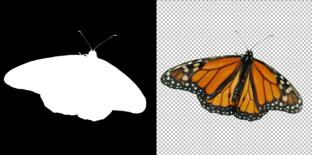 Left: The mask for the butterfly image. The mask sets which parts of the picture to keep visible (white) and which not (black). Right: The result of using the mask on the butterfly image. The checkerboard portion represents the portion that will be transparent. With a mask like this, you can place the butterfly image on any kind of background.