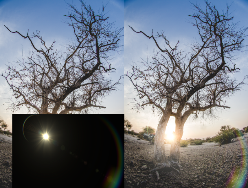 Adding a lens flare using Screen mode.