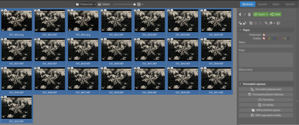 This screenshot shows all 22 of my shots taken and ready for editing.