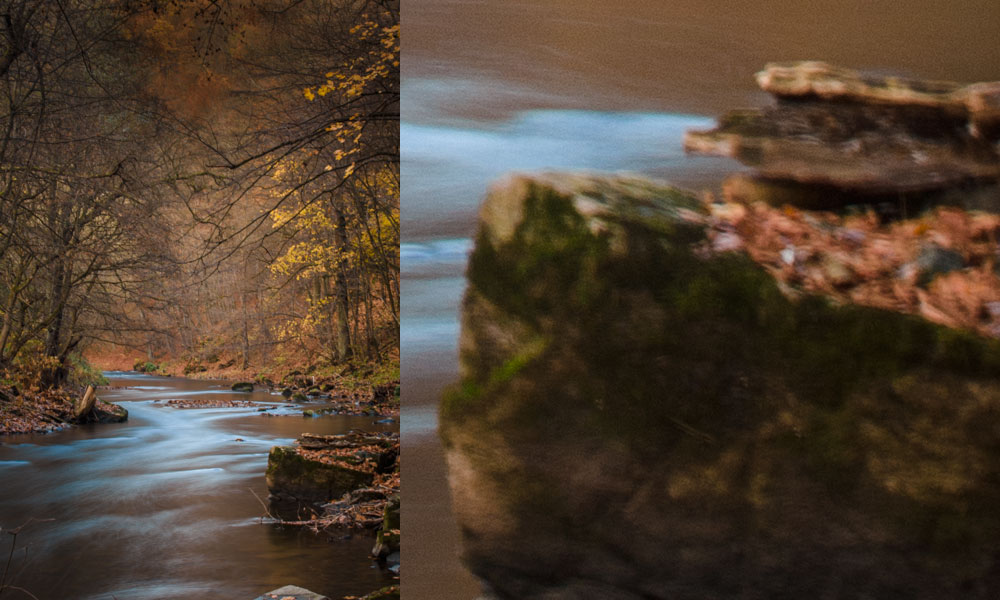 Stabilizer on. Right: a 1:1 close-up. Canon 5D Mark III, Canon EF 70-200/2.8 II, 25 seconds, f/16, ISO 320, focal length 70 mm