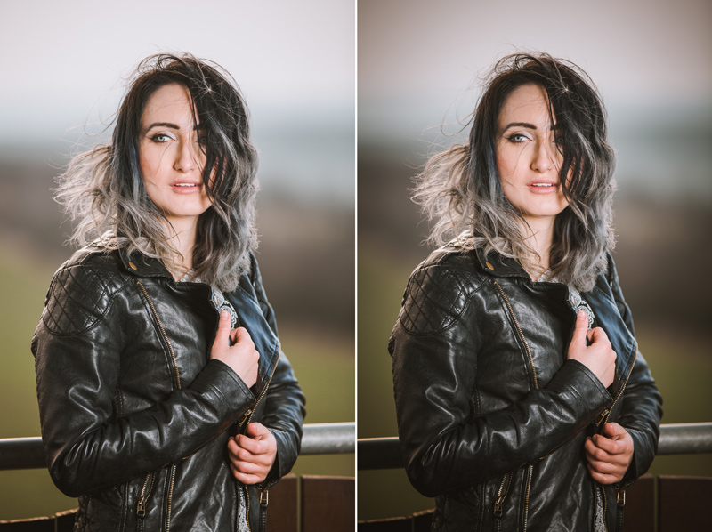 The original of a portrait, and that portrait after adding in vignetting.