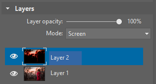 Changing the blending mode for the new layer to Screen.