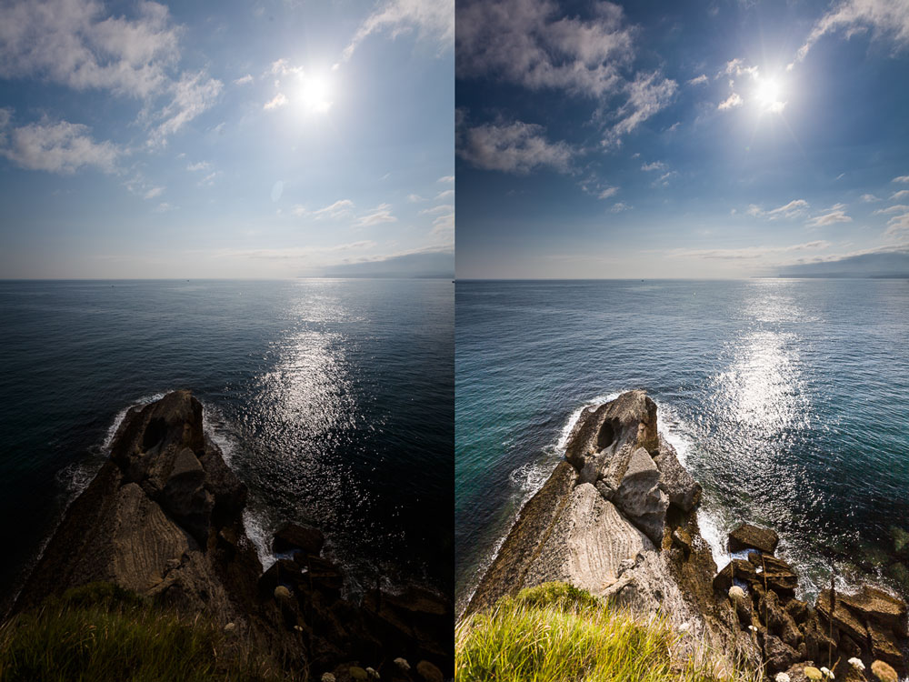 Left: before edits. Right: after edits. Canon 5D Mark II, Canon EF 16–35/2.8 II, 1/400 s, f/7.1, ISO 100, focal length 16 mm