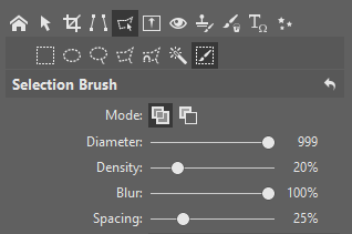 The parameters I used for the Selection Brush (Shift+Q).