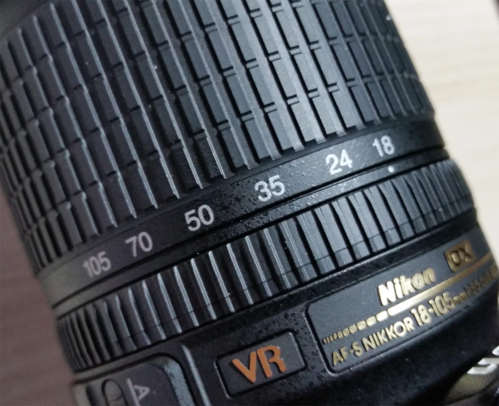 The numbers on the lens represent the lens's focal length in millimeters.