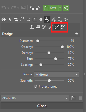 You'll find the Dodge and Burn brushes in the Editor, in its Retouching Tools group.
