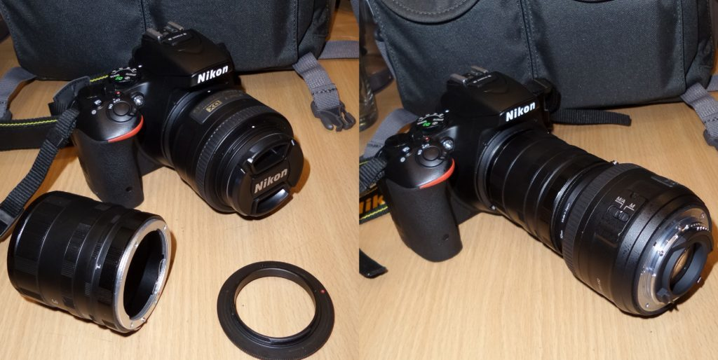 Setting up the camera using a reverse ring and a set of extension tubes. Nikon D5500, Nikkor 35 mm, 1/60 s, ISO 1200