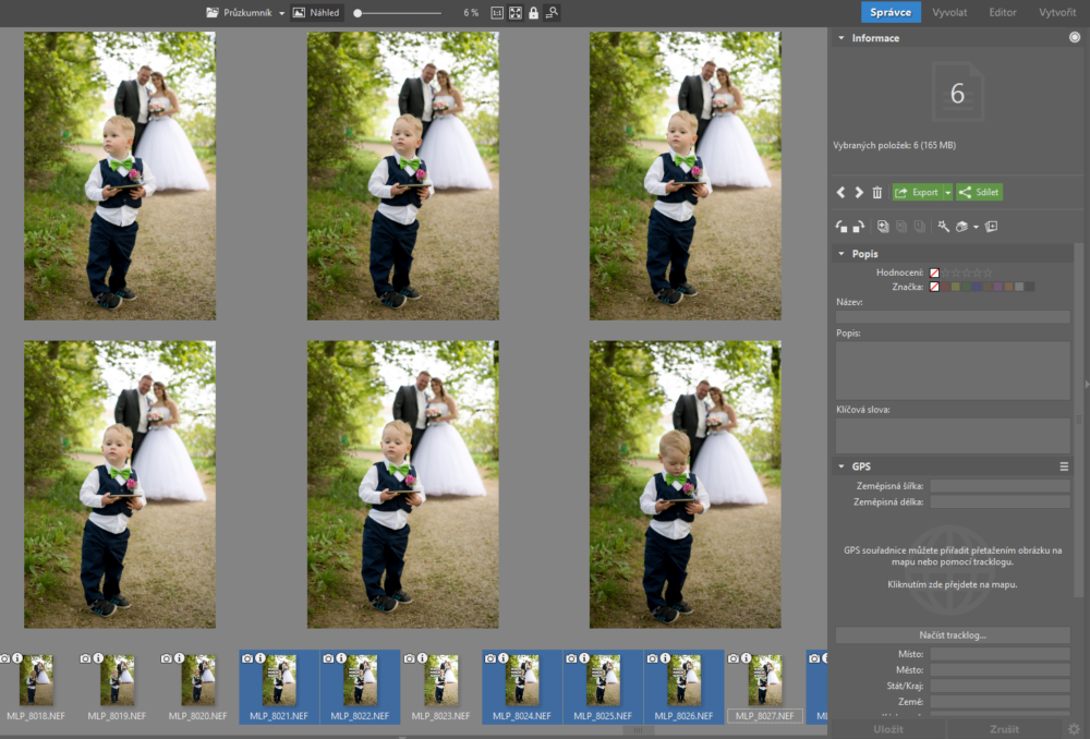 Selecting several photos in the Preview mode.