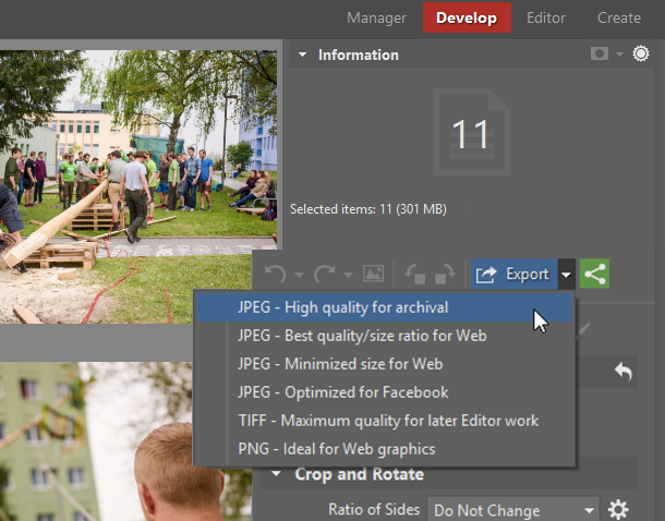 Finish up by exporting the photos.