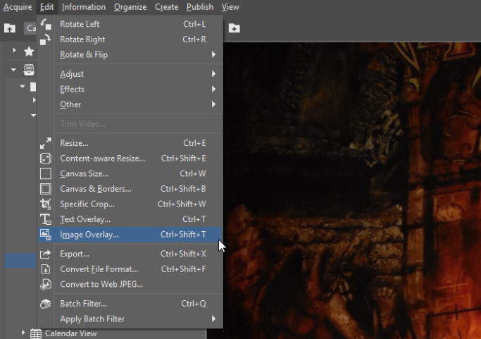 How to Add a Watermark to Photos: Edit menu.