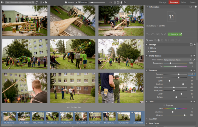 Select the photos and adjust their parameters.