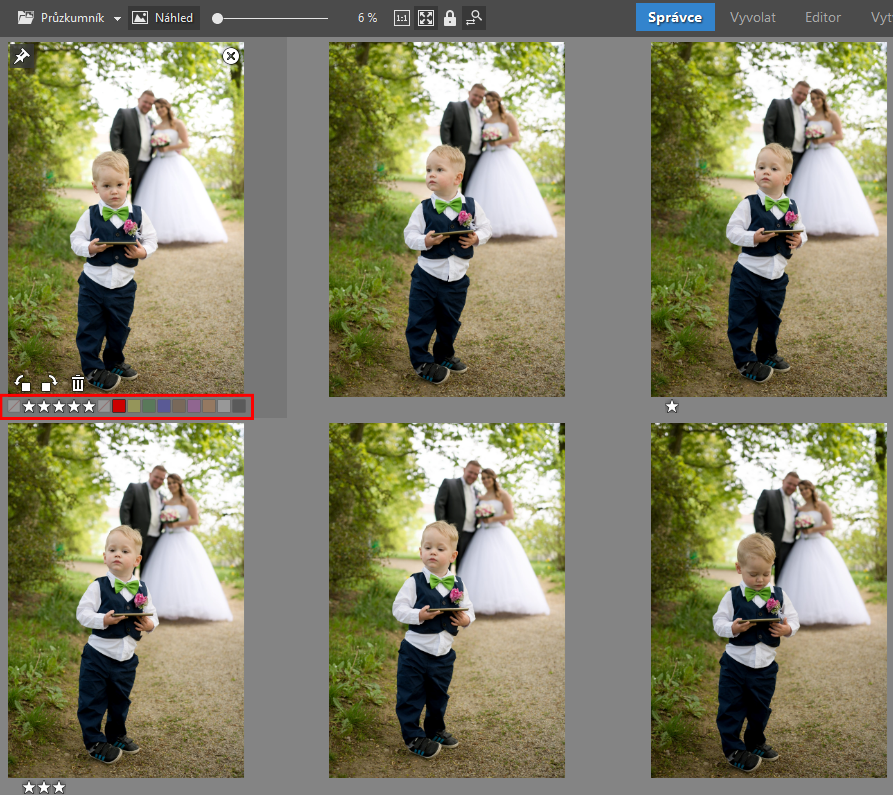 Rotating and sorting photos in a multi-selection.