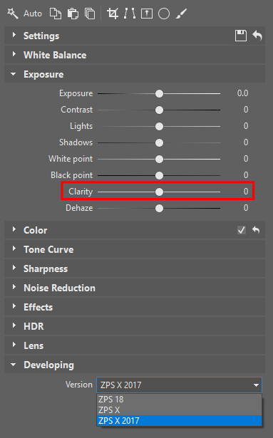 Clarity function in Zoner Photo Studio X.