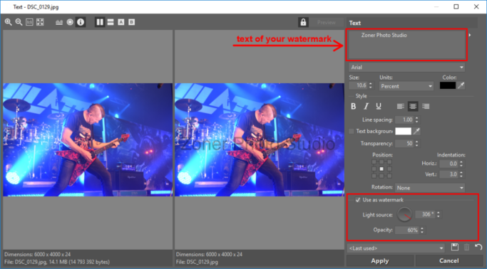 How to Add a Watermark to Photos: adding a text watermark.