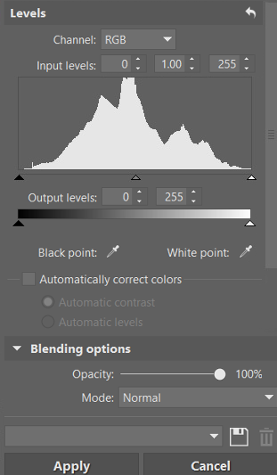 When working with the tools for adjusting brightness and contrast, don't forget to periodically check that you haven't cut anything off in the lights or shadows. You can see it in our previous histograms—whenever a picture's histogram falls off the graph in the lights or shadows, color information is cut off.