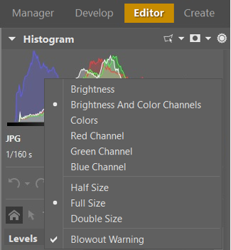 Right-click a histogram in ZPS to see a menu with histogram display options.