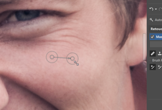 Change the radius for spot retouching at any time.