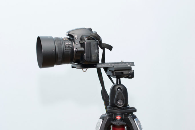 Macro photography: A camera on a focusing rack.