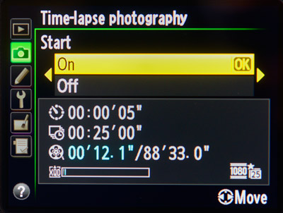 How to Create a Timelapse Video: Nikon settings.